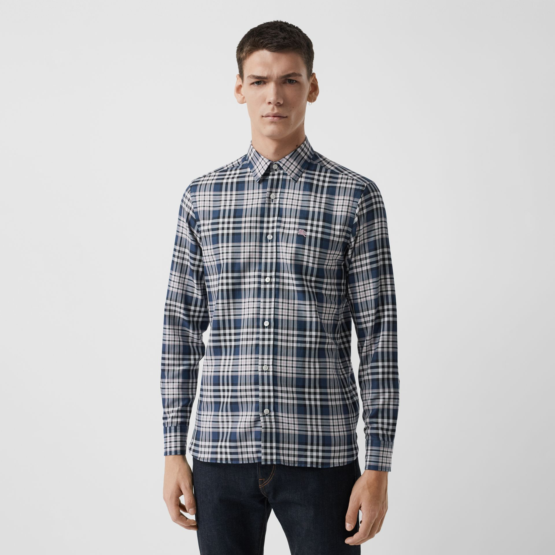 Check Cotton Shirt in Pewter Blue - Men | Burberry Singapore - gallery image 0