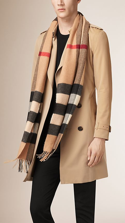 Camel check Giant Exploded Check Cashmere Scarf Camel - Image 3
