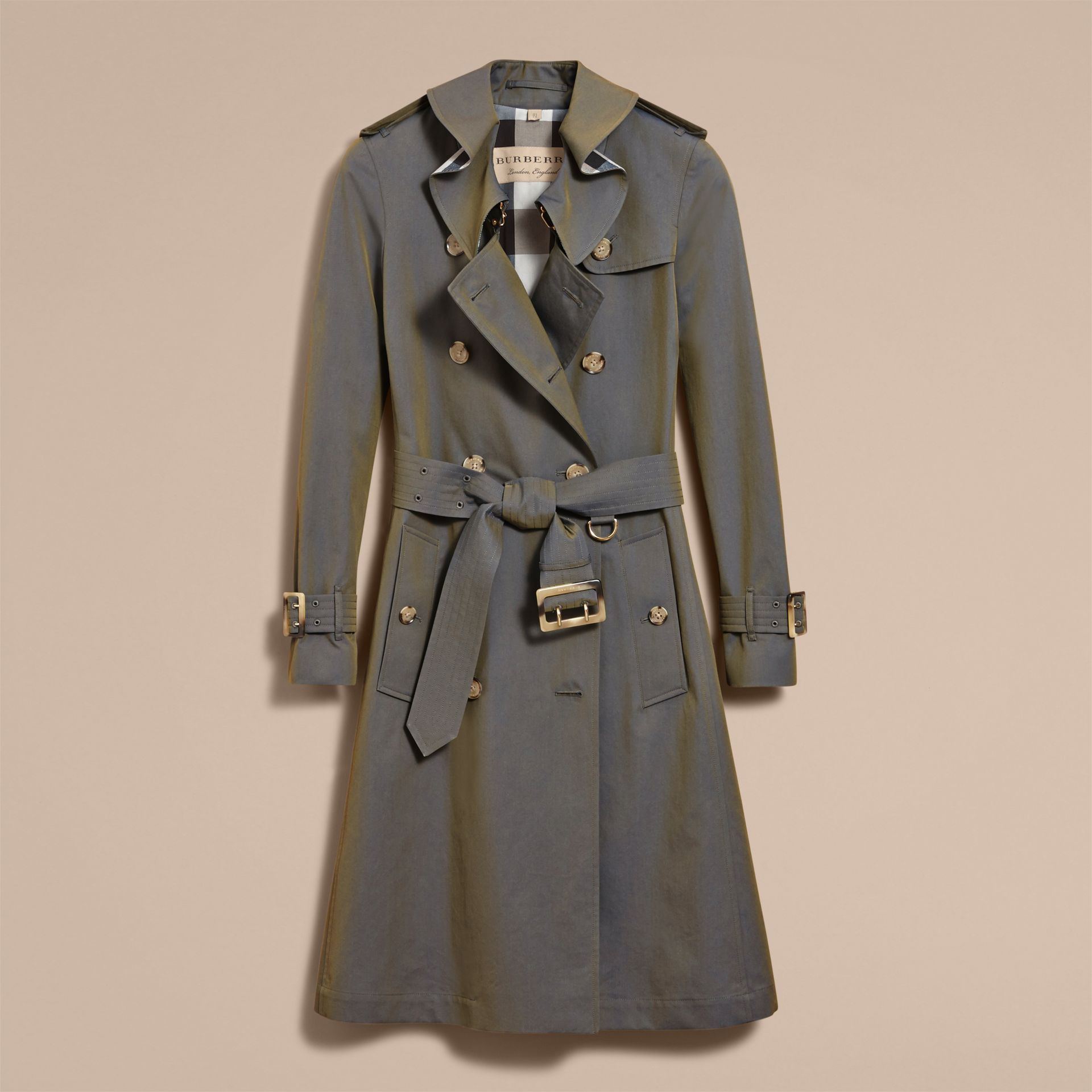 Tropical Gabardine Trench Coat with Ruffle Detail in Storm Blue - Women | Burberry Australia - gallery image 4