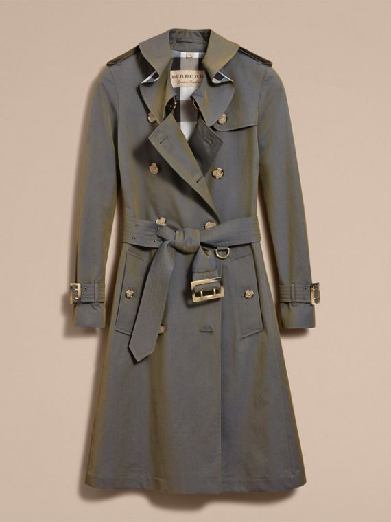 Tropical Gabardine Trench Coat with Ruffle Detail in Storm Blue - Women | Burberry Australia - cell image 3
