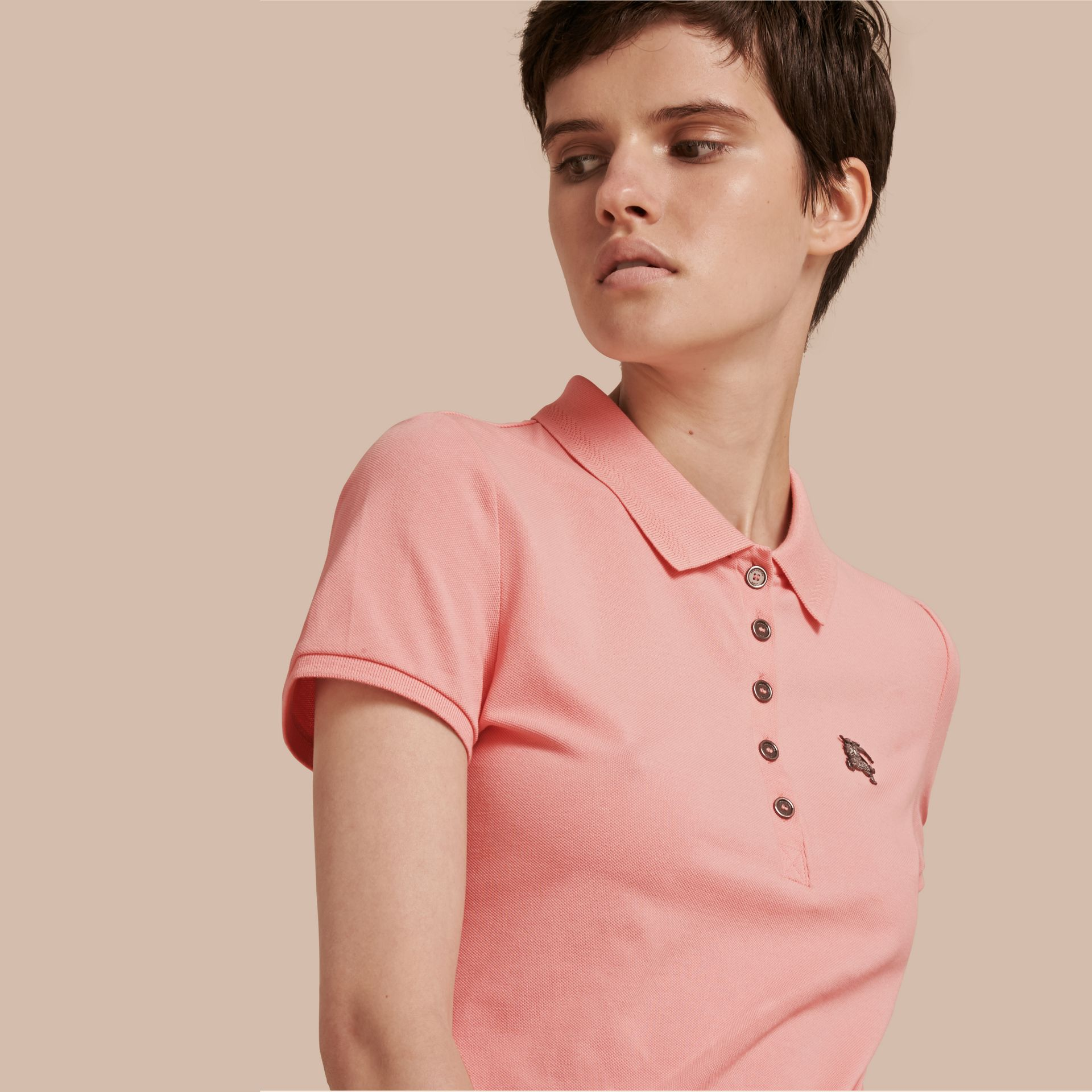 Cotton Piqué Polo Shirt in Carnation Pink - gallery image 1