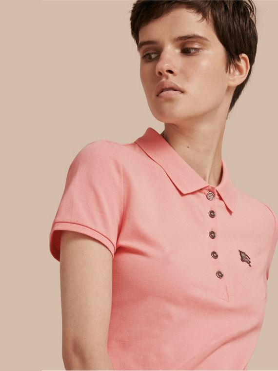 Cotton Piqué Polo Shirt Carnation Pink