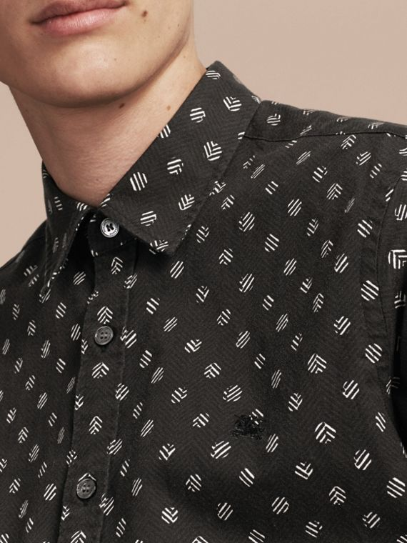 Black Short-sleeved Printed Cotton Linen Shirt - cell image 3
