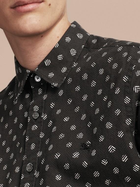 Noir Chemise en coton et lin à manches courtes avec imprimé - cell image 3