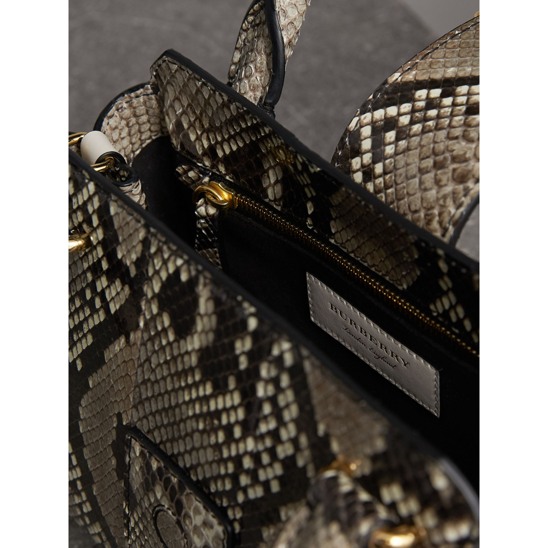 The Small Buckle Tote in Python in Natural - Women | Burberry - gallery image 6