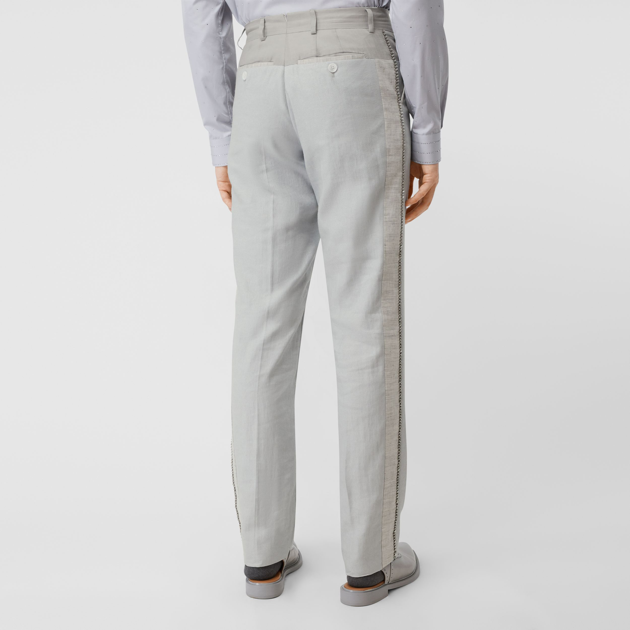 English Fit Crystal Embroidered Technical Linen Trousers in Light Pebble Grey - Men | Burberry Australia - 3