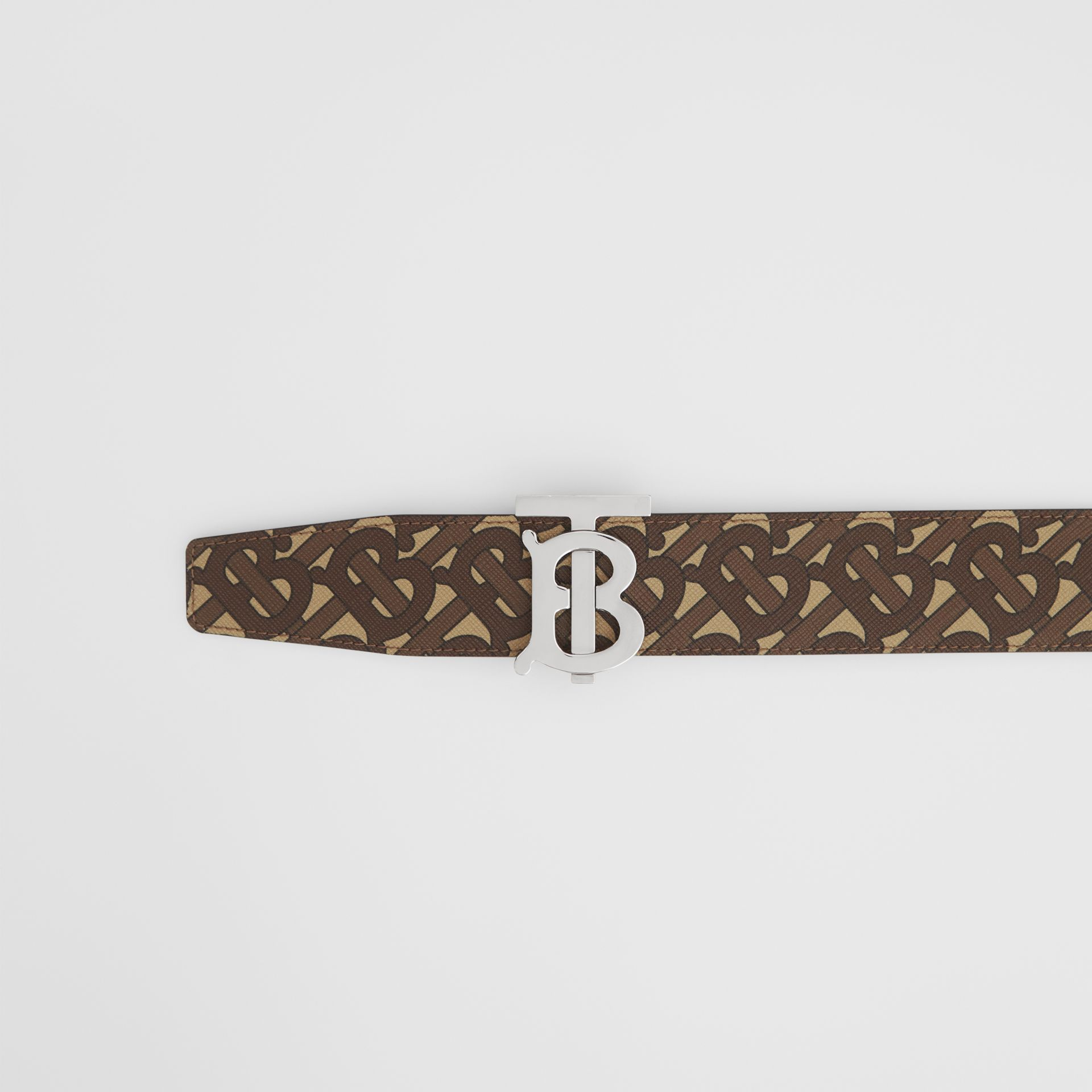 Reversible Monogram Print E-canvas and Leather Belt in Bridle Brown - Men | Burberry United States - gallery image 1