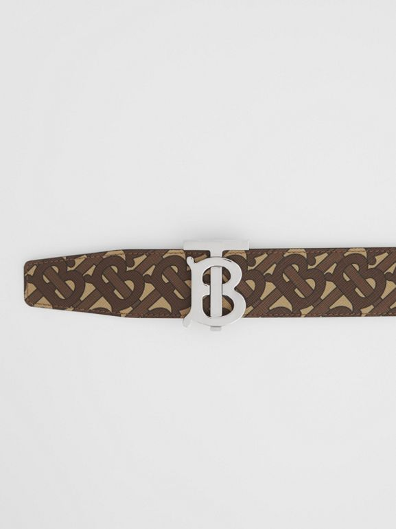 Reversible Monogram Print E-canvas and Leather Belt in Bridle Brown - Men | Burberry United Kingdom - cell image 1
