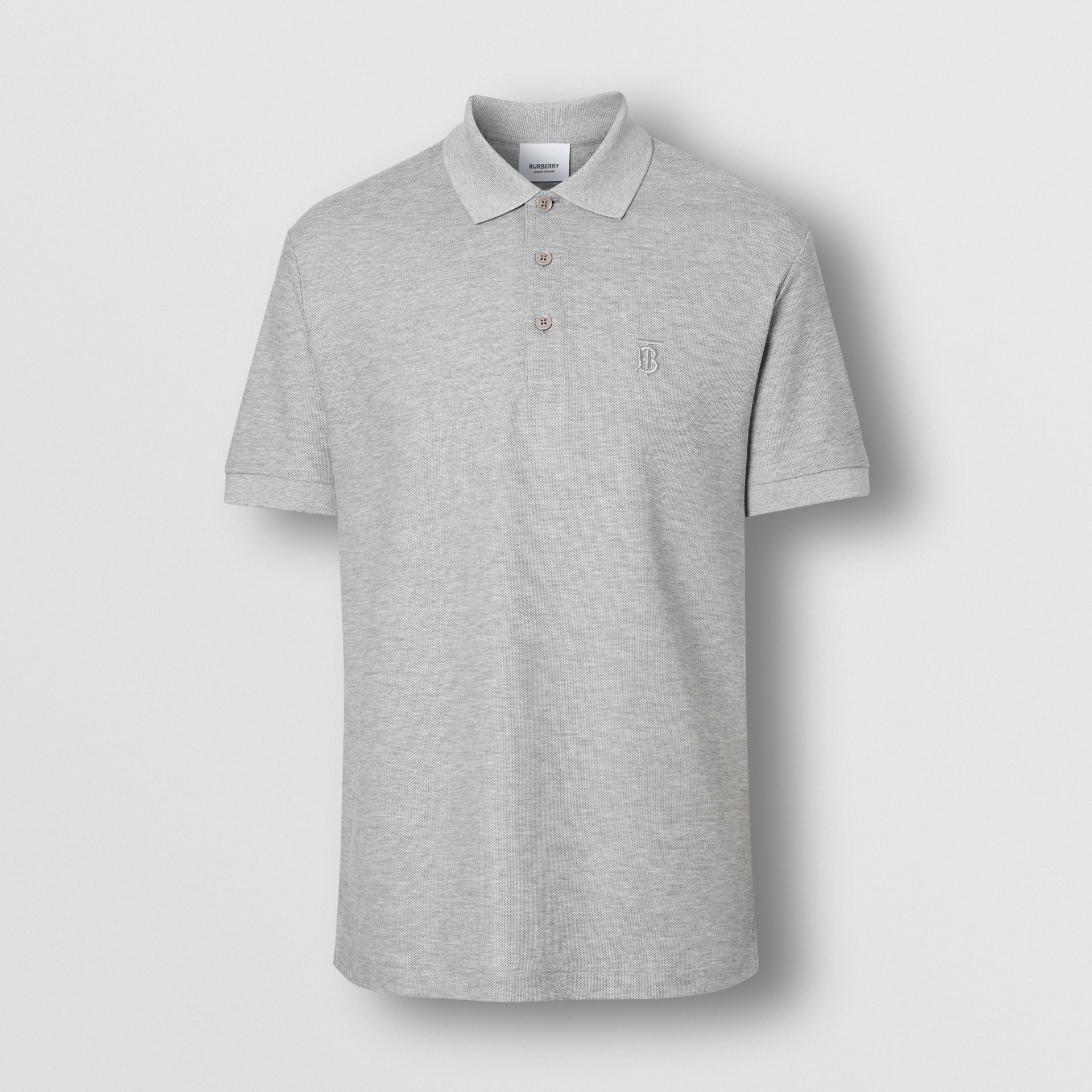 Monogram Motif Cotton Piqué Polo Shirt in Pale Grey Melange - Men | Burberry Canada - gallery image 3