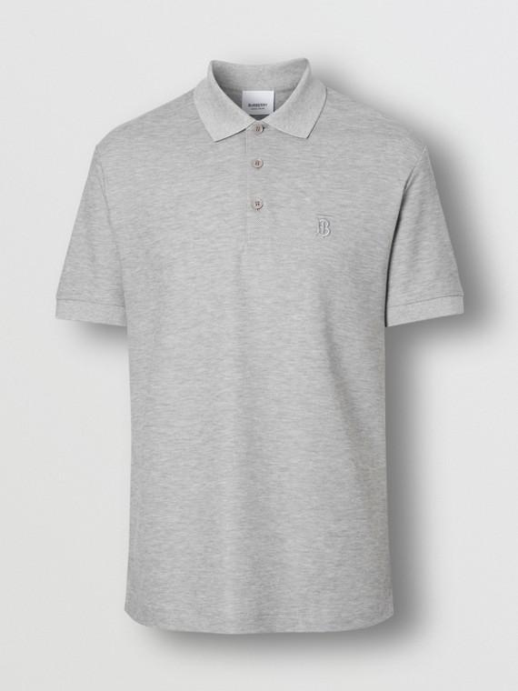 427cdabe8 Monogram Motif Cotton Piqué Polo Shirt in Pale Grey Melange