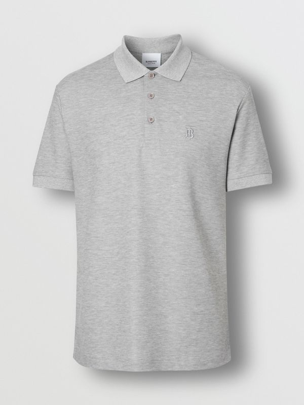 Monogram Motif Cotton Piqué Polo Shirt in Pale Grey Melange - Men | Burberry - cell image 3