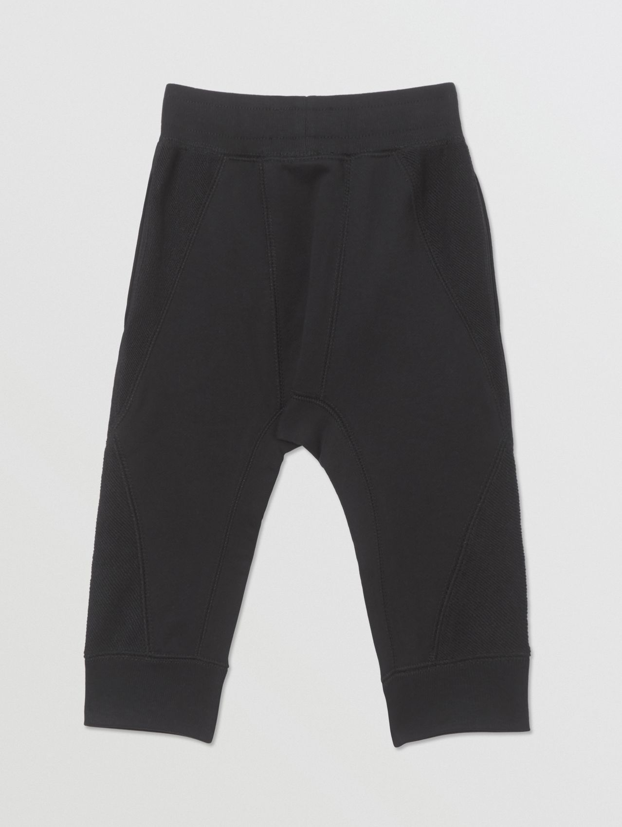 Logo Graphic Cotton Trackpants in Black
