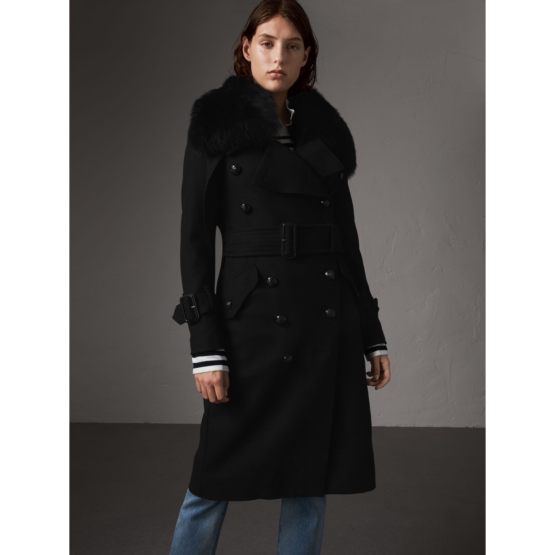 Detachable Fox Fur Collar Wool Blend Trench Coat in Black - Women | Burberry - gallery image 7