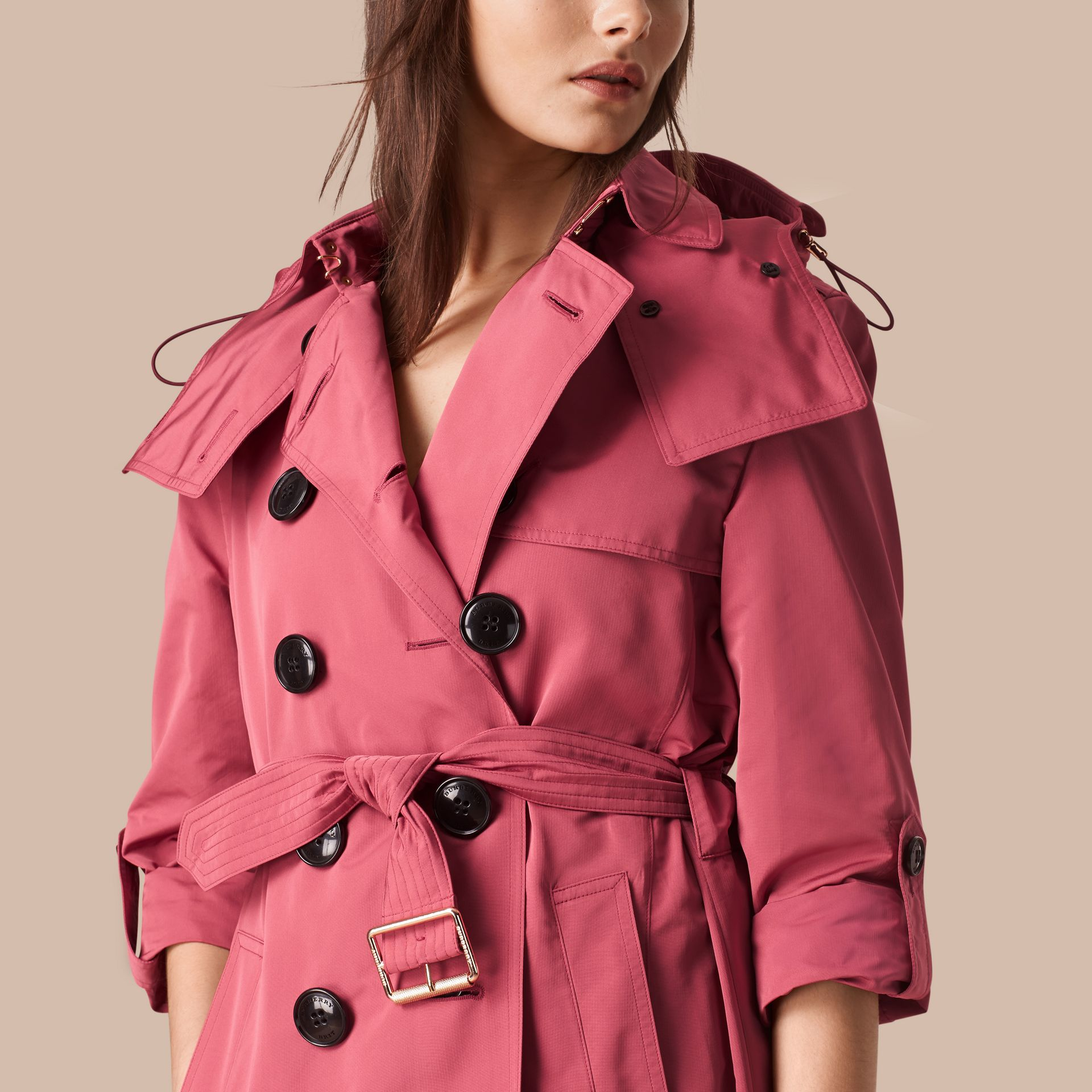 Bright copper pink Showerproof Trench Coat with Detachable Hood Bright Copper Pink - gallery image 4