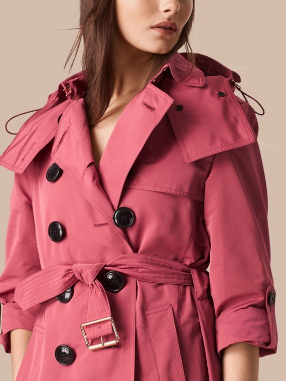 Bright copper pink Showerproof Trench Coat with Detachable Hood Bright Copper Pink - cell image 3