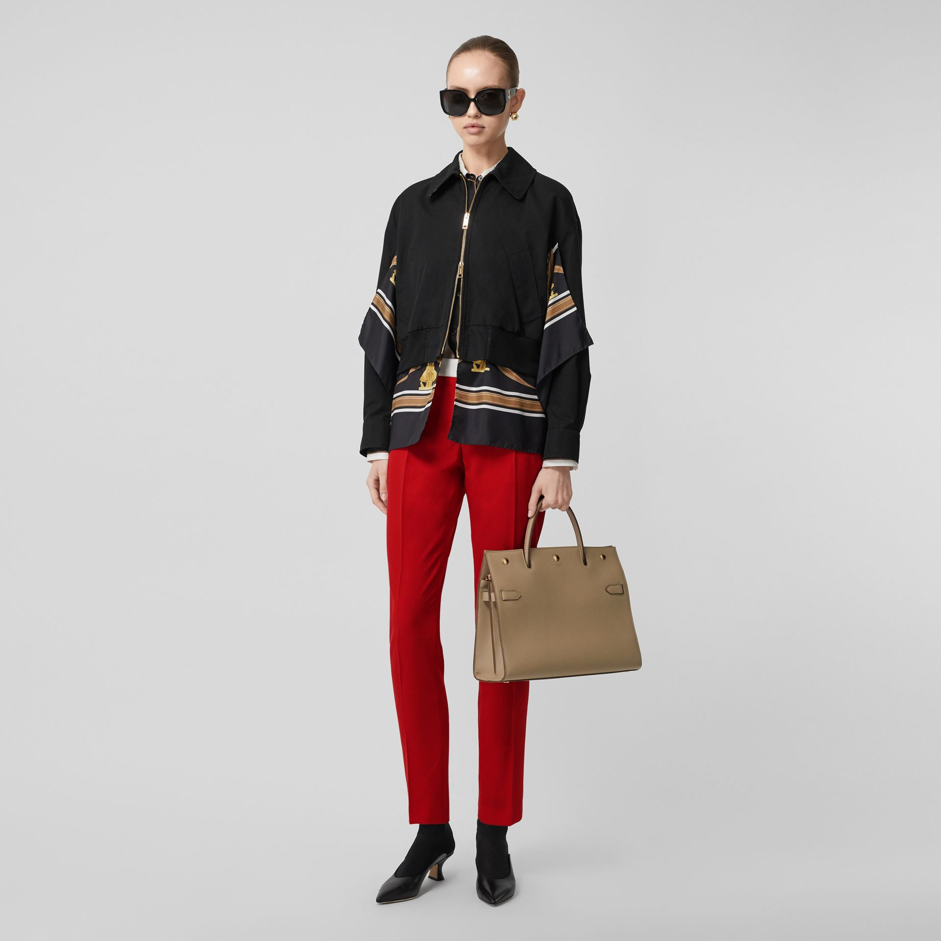 Two-tone Wool Tailored Trousers in Bright Red - Women | Burberry Hong Kong S.A.R - gallery image 0