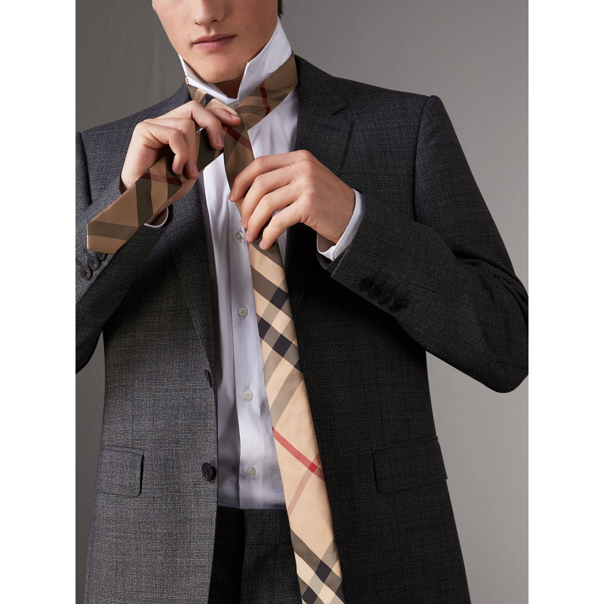 Modern Cut Check Silk Tie in Camel - Men | Burberry - gallery image 3