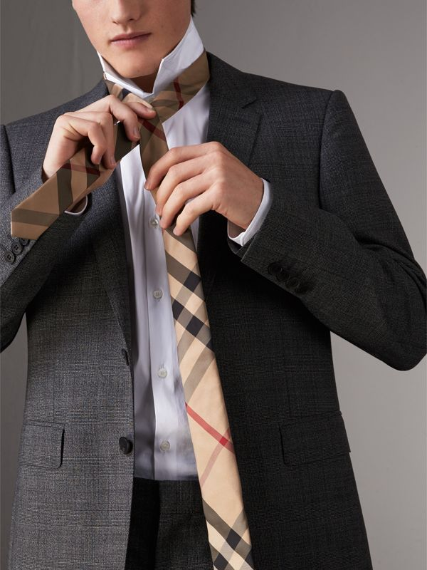 Modern Cut Check Silk Tie in Camel - Men | Burberry Australia - cell image 2