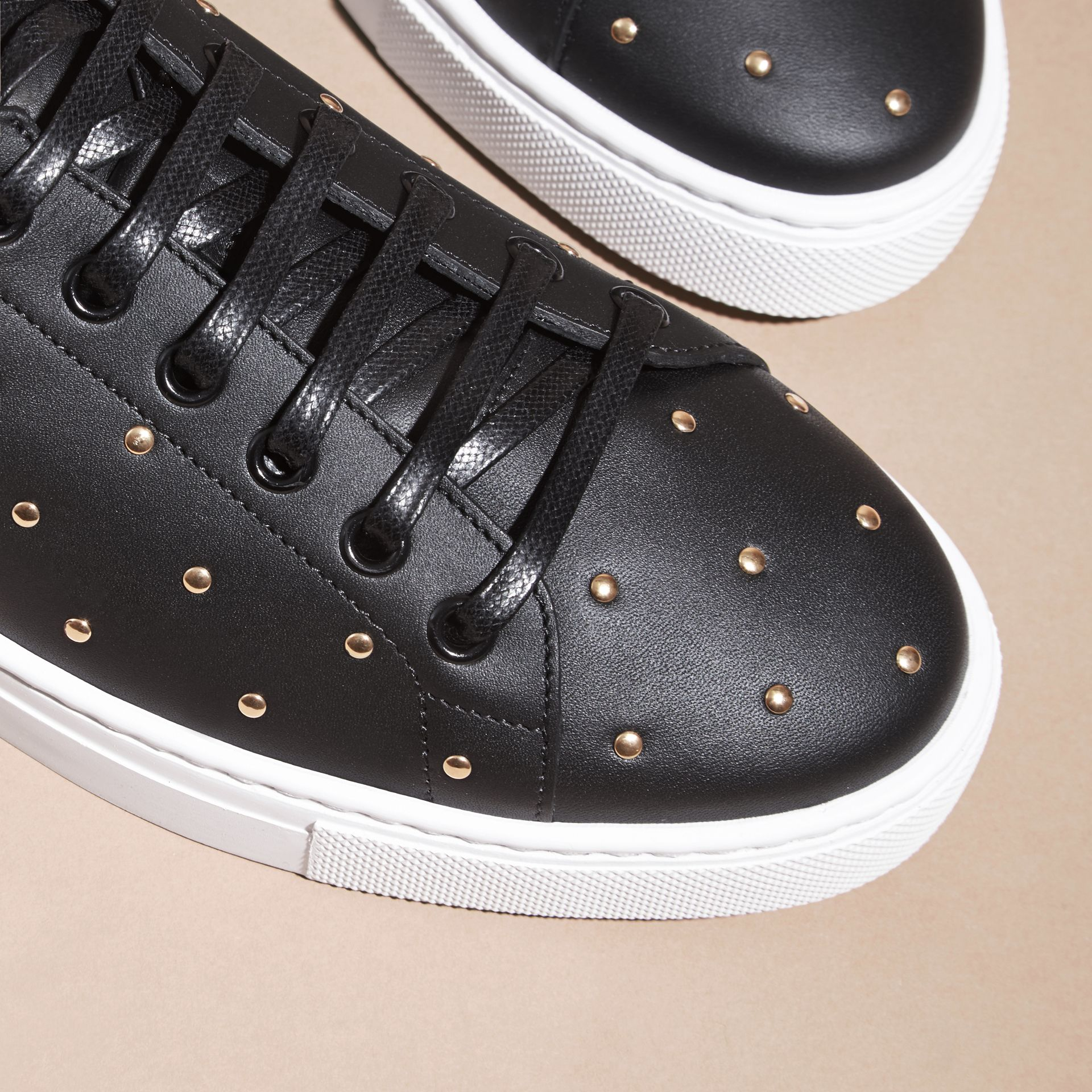 Black Studded Leather Sneakers - gallery image 2