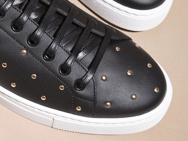 Black Studded Leather Sneakers - cell image 1