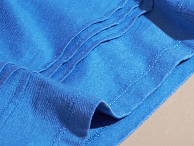 Bleu hortensia vif T-shirt à plis en coton à motif check Bleu Hortensia Vif - cell image 1
