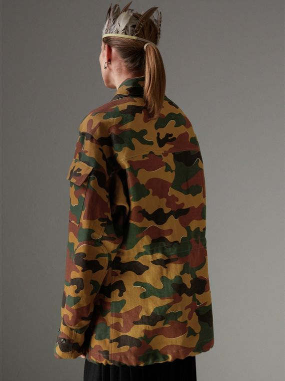 Boyfriend Fit Camouflage Print Jacket in Ochre Green - Women | Burberry - cell image 2