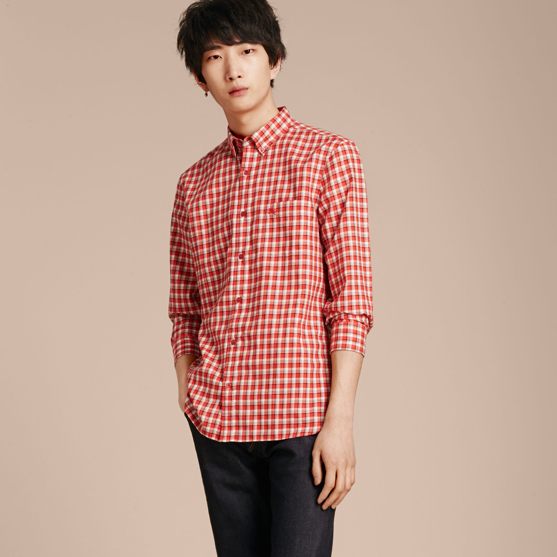 Parade red Gingham Check Cotton Twill Shirt Parade Red - gallery image 6