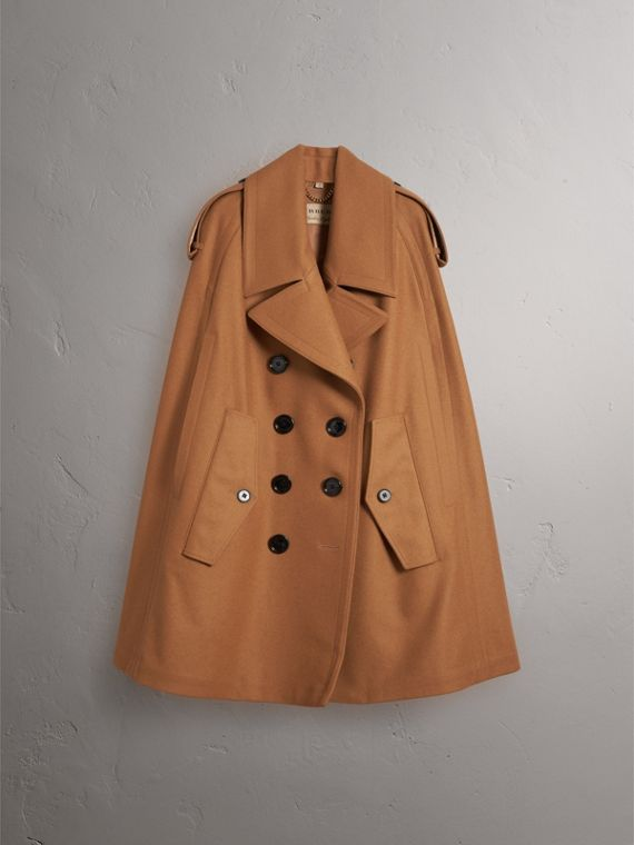 Wool Double-breasted Military Cape in Camel - Women | Burberry - cell image 3