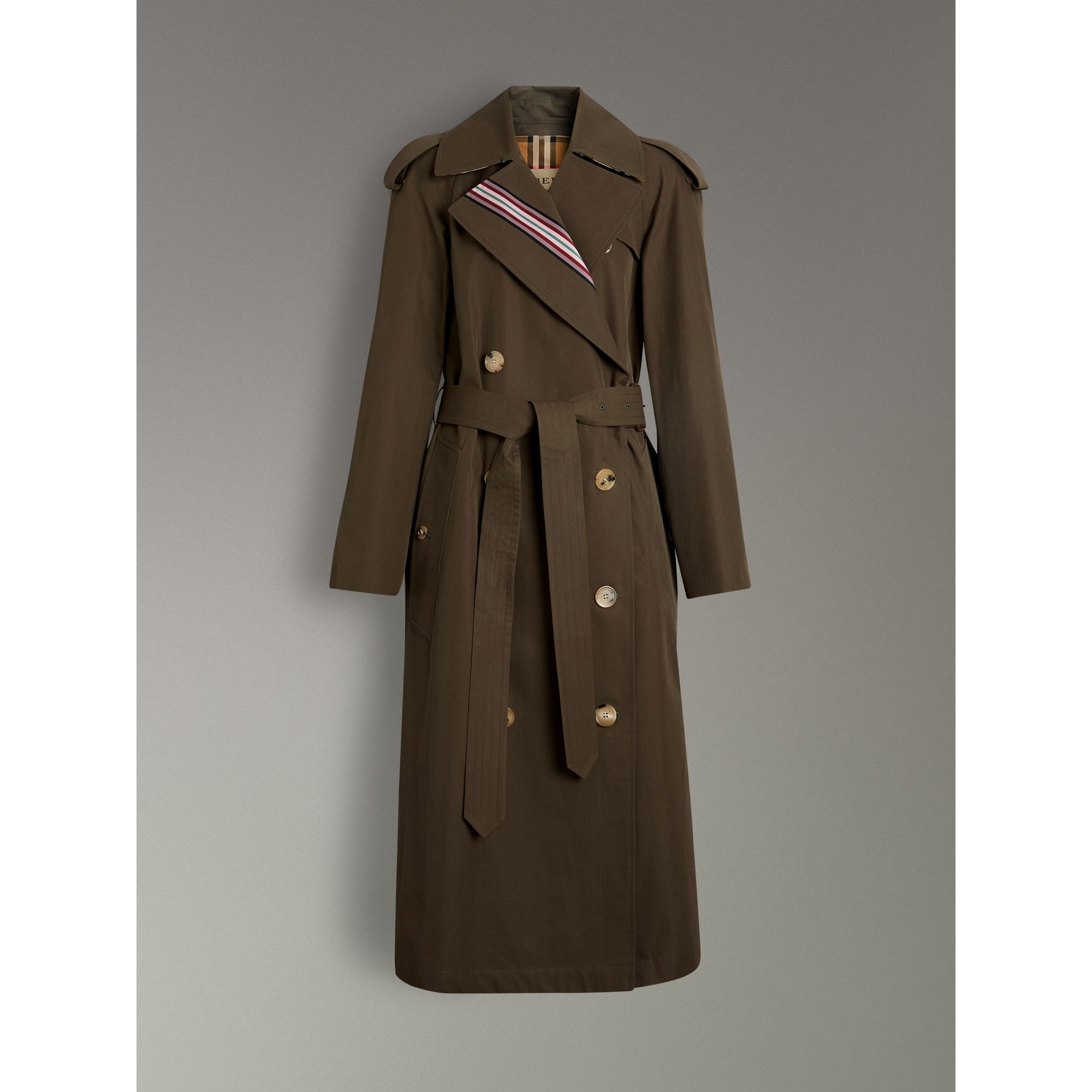 Collegiate Stripe Cotton Gabardine Trench Coat in Olive - Women | Burberry - gallery image 3