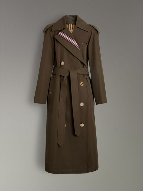 Collegiate Stripe Cotton Gabardine Trench Coat in Olive - Women | Burberry - cell image 3