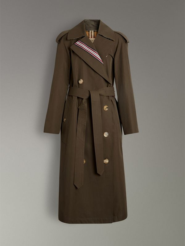 Striped Ribbon Cotton Gabardine Trench Coat in Olive - Women | Burberry - cell image 3