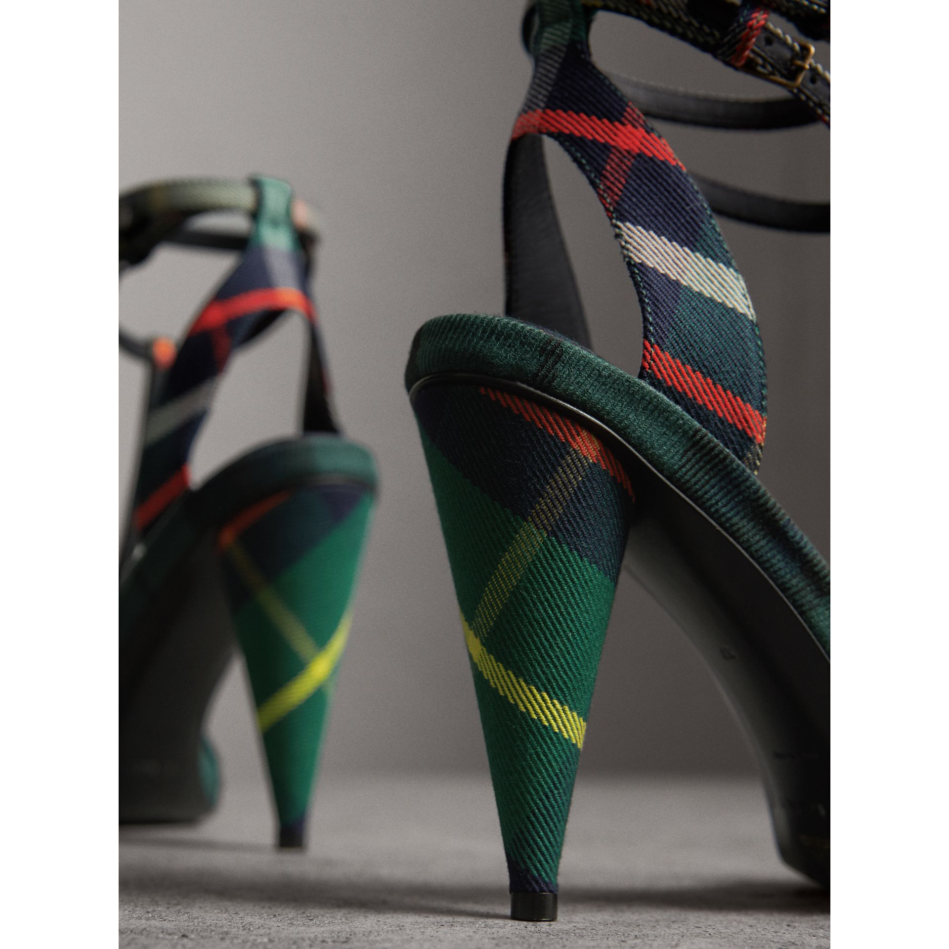 Tartan Cotton High Cone-heel Sandals in Forest Green - Women | Burberry - gallery image 3