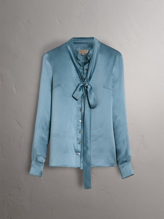 Silk Satin Tie-neck Shirt in Pale Blue - Women | Burberry United Kingdom - cell image 3