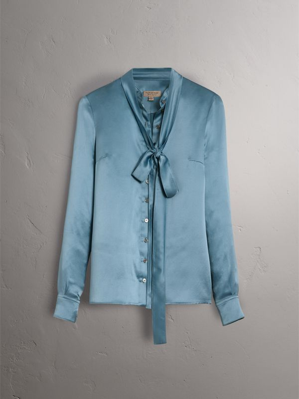 Silk Satin Tie-neck Shirt in Pale Blue - Women | Burberry - cell image 3