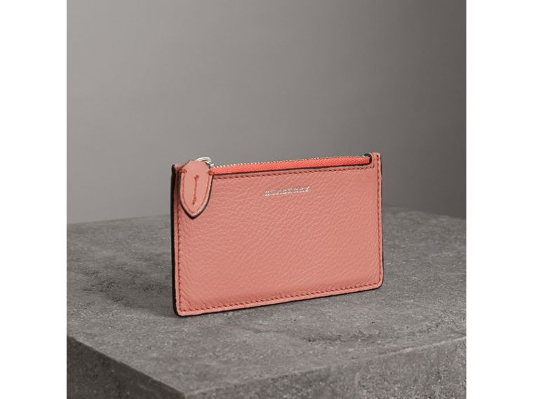 Two-tone Leather Zip Card Case in Dusty Rose - Women | Burberry - cell image 4