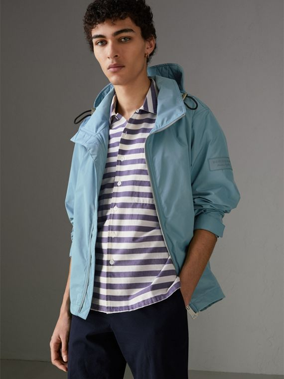Packaway Hood Showerproof Jacket in Slate Blue
