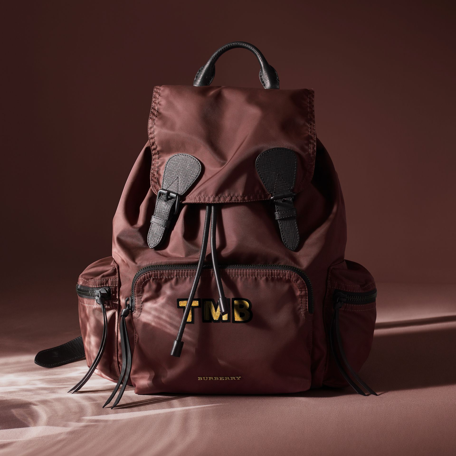 The Large Rucksack in Technical Nylon and Leather in Burgundy Red - Men | Burberry Canada - gallery image 9