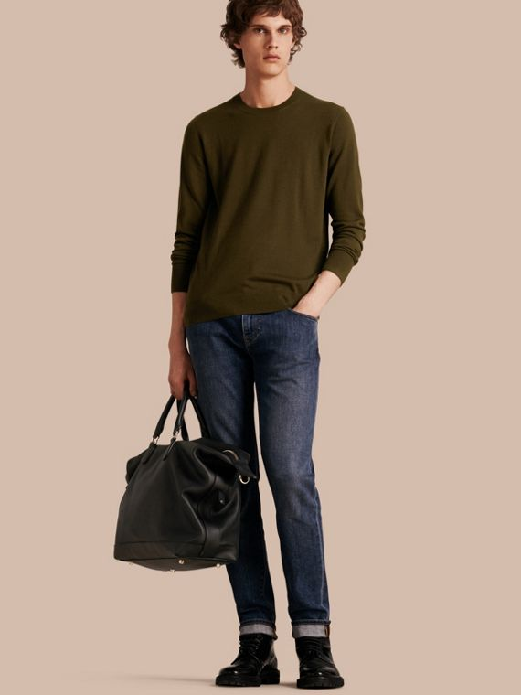 Lightweight Crew Neck Cashmere Sweater with Check Trim Military Olive