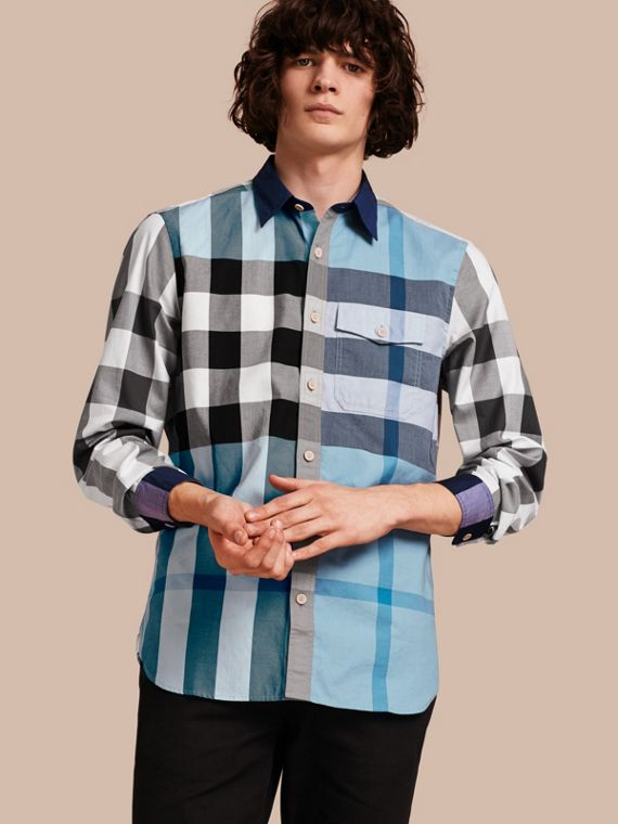 Check Cotton Poplin Shirt Pale Blue