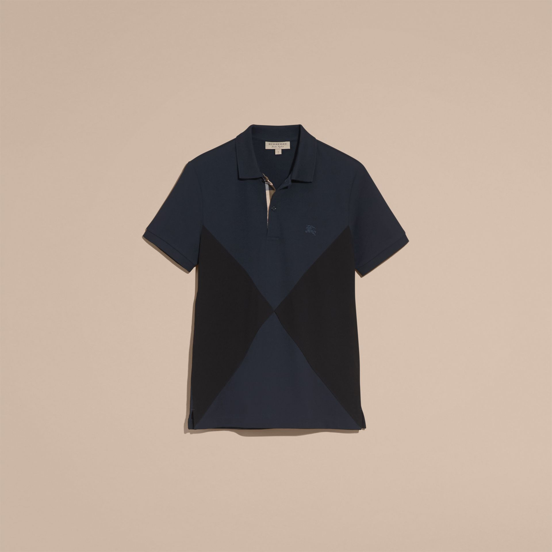 Geometric Motif Cotton Piqué Polo Shirt with Check Placket in Dark Navy - gallery image 4