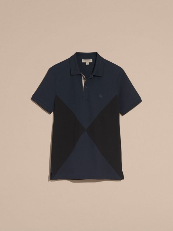 Geometric Motif Cotton Piqué Polo Shirt with Check Placket in Dark Navy - cell image 3