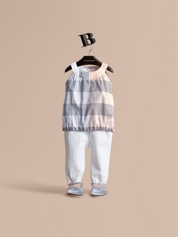 Gathered Check Cotton Top in Apricot | Burberry Australia