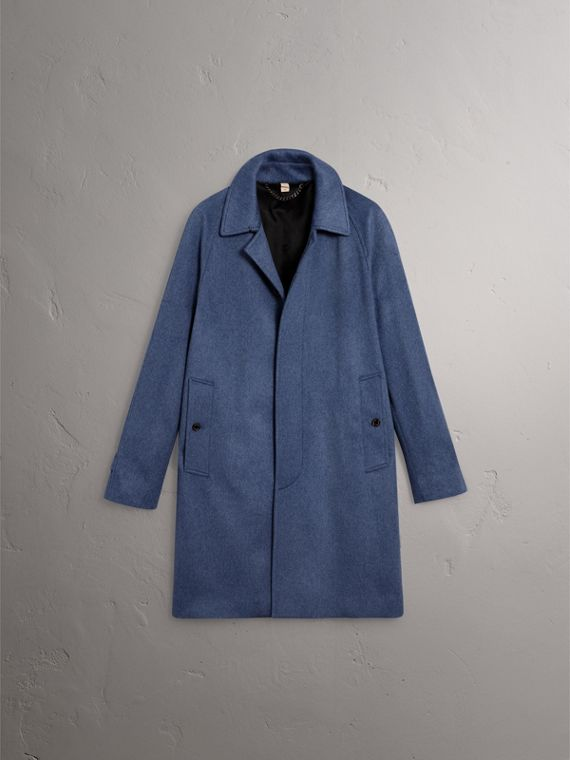 Cashmere Car Coat in Steel Blue Melange - Men | Burberry - cell image 3
