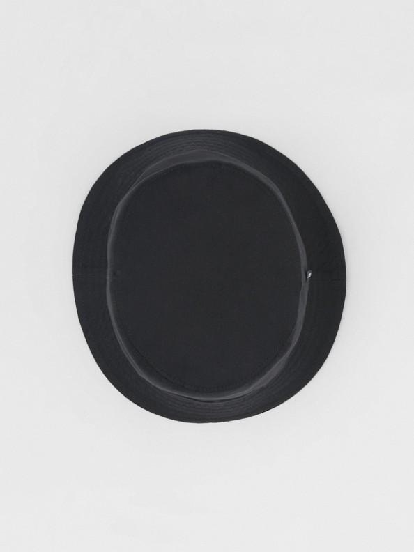 Logo Detail Cotton Twill Bucket Hat in Black