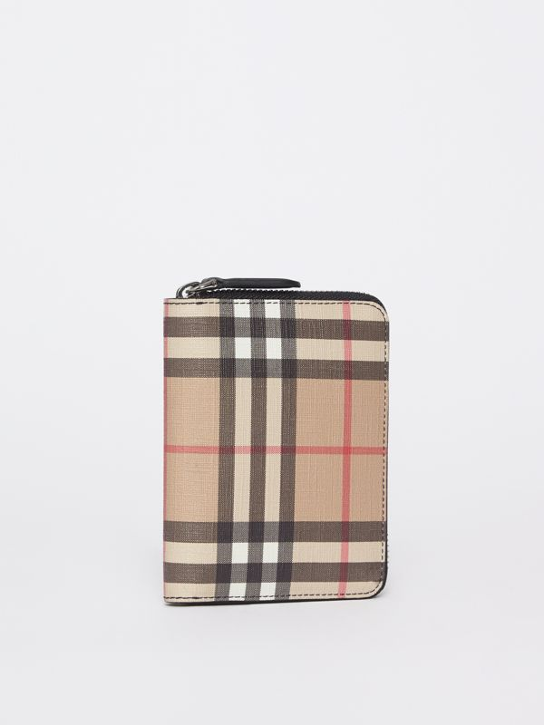 Vintage Check E-canvas Ziparound Wallet in Black - Women | Burberry - cell image 3