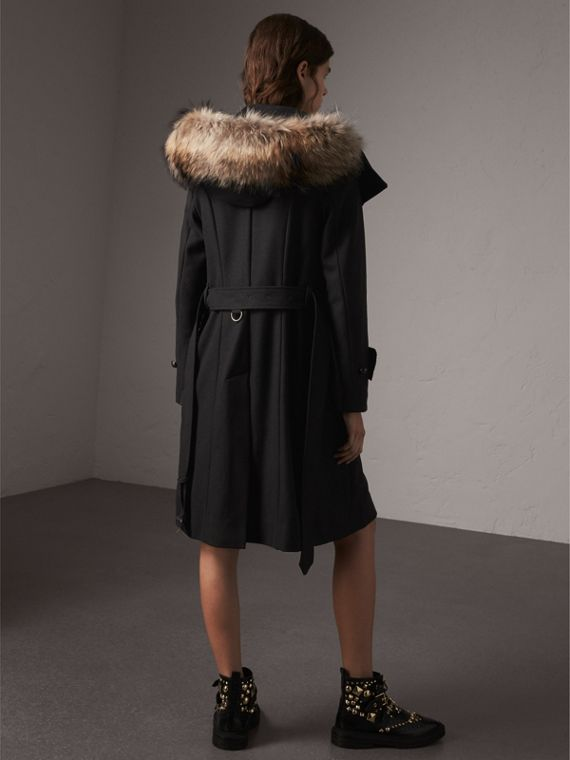 Hooded Wool Blend Coat with Detachable Fur Trim in Black - Women | Burberry - cell image 2