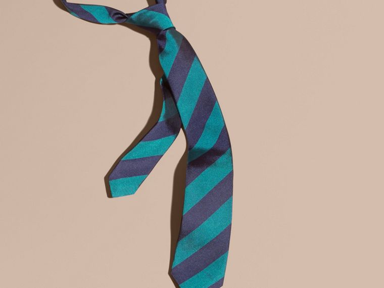 Slim Cut Stripe Jacquard Silk Tie in Mineral Blue - cell image 2