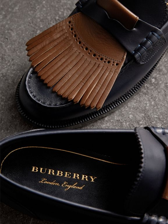 Contrast Kiltie Fringe Leather Loafers in Navy/dark Tan - Men | Burberry - cell image 1