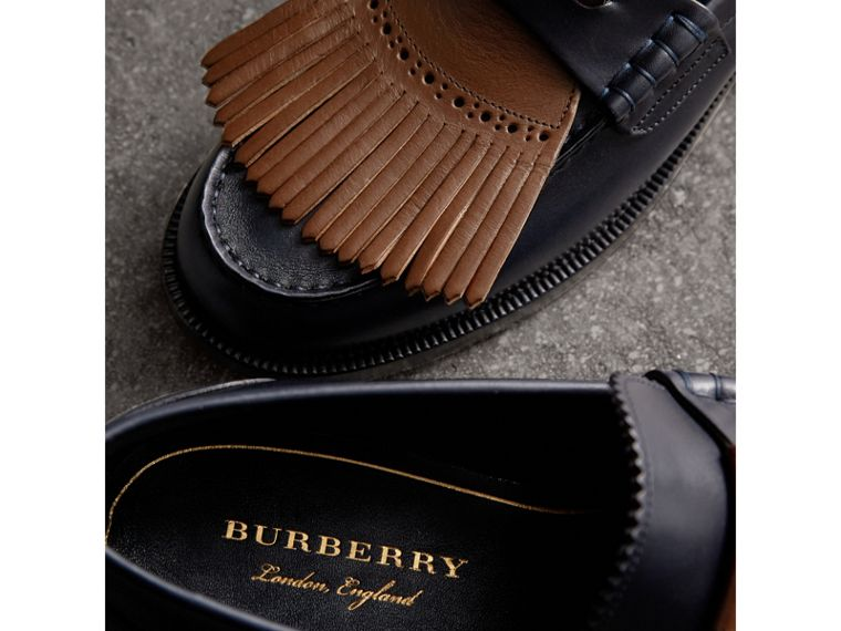 Contrast Kiltie Fringe Leather Loafers in Navy/dark Tan - Men | Burberry United Kingdom - cell image 1