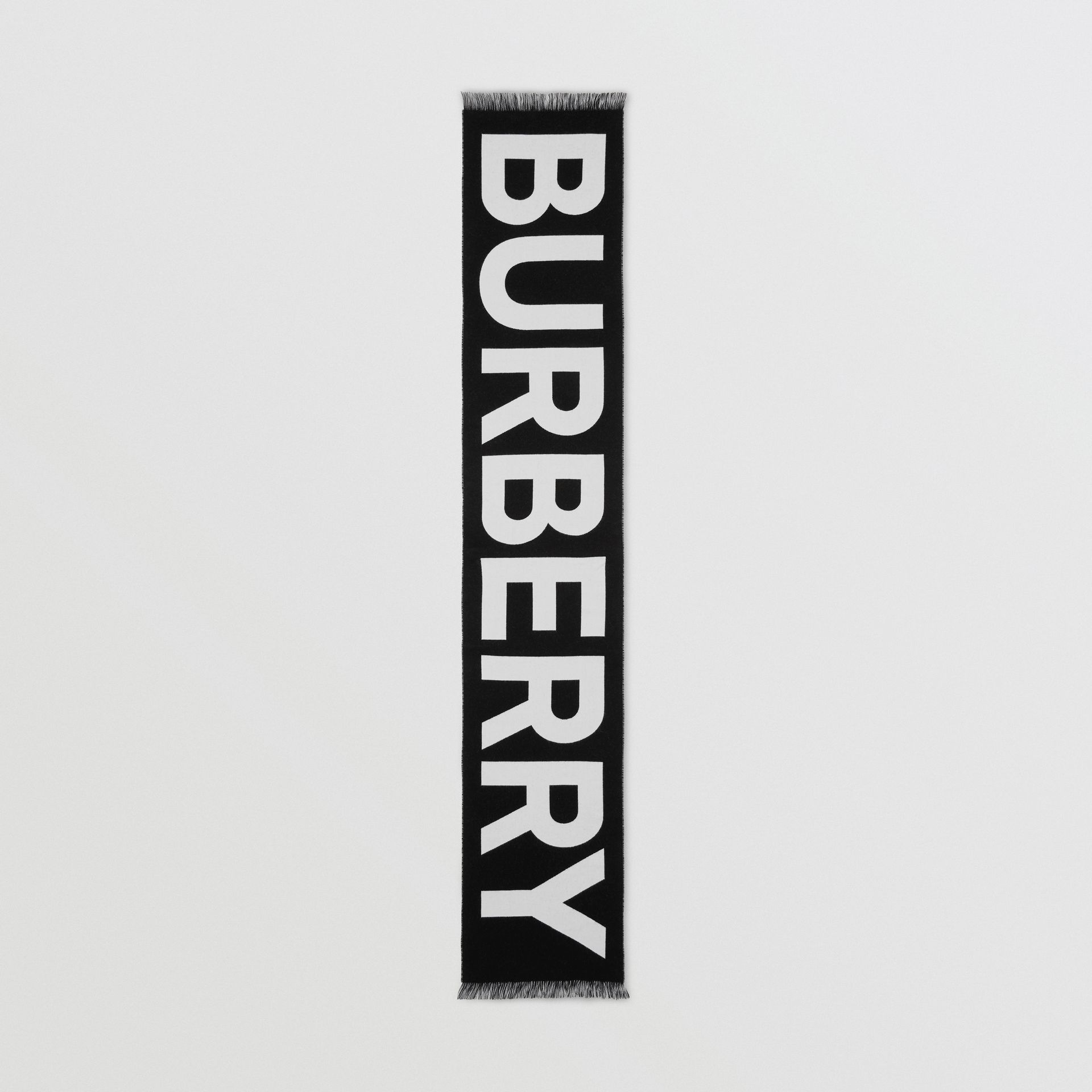 Logo Wool Jacquard Scarf in Black | Burberry - gallery image 5